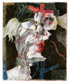 Horst Janssen - self portrait - drawing on paper