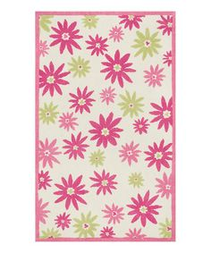 Another great find on #zulily! Pink & Green Floral Piper Rug #zulilyfinds