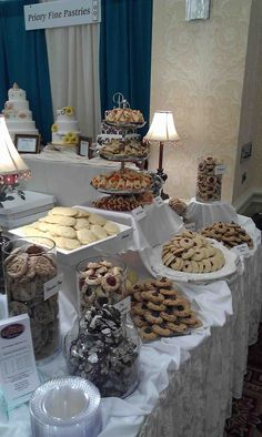 Wedding cookie table- could add candies among the cookies