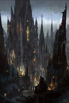 ideas for dark fantasy landscape rpg Fantasy City, Fantasy Castle, Fantasy Kunst, Fantasy Places, Fantasy World, High Fantasy, Dark Fantasy Art, Gothic Castle, Dark Castle