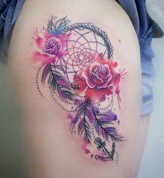 Rose, dream catcher, anchor tattoo