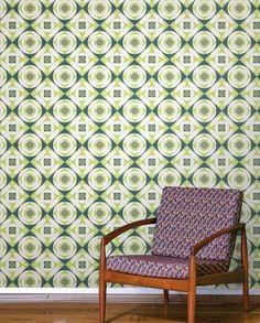 Vintage Geometric Green Wallpaper Tiles   Wallpaper Tiles
