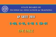 AP SBTET Time Table 2018 released of Diploma Courses C9, C14, C16, ER91. Pharmacy courses: C09, C14, C16