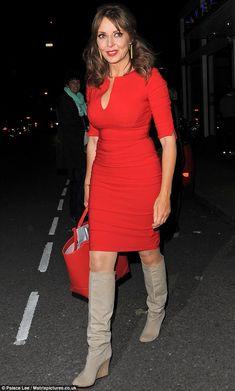 Carol Vorderman wears a figure-hugging red dress on Celebrity ...