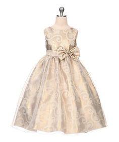 This Gold Jacquard Organza Dress - Toddler & Girls is perfect! #zulilyfinds