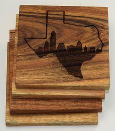 Austin Skyline within Texas State Outline Coaster