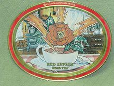 Vintage Celestial Seasonings RED ZINGER Herb Tea TRAY Metal Gold Floral w/Hanger #ClestialSeasoningsTEA