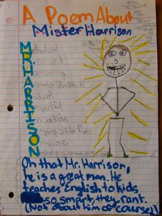 """Let go my ego!  I allow my students to craft their best Mr. Stick memory of me as part of my annual contest now.  Here is 6th grader Meghan's...This was an entry for my annual """"Mr. Stick of the Year"""" notebook challenge: http://corbettharrison.com/GT/MrStickoftheYear.htm"""