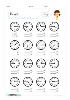 A free math worksheet to learn the time, on the . - A free math worksheet to learn the time, on the …- Ein kostenloses Mathe-Arbeitsblatt zum Uhrzeit - Free Math Worksheets, Reading Worksheets, Learning Time, Kids Learning, German Language Learning, German Words, Learn German, Math For Kids, Math Skills