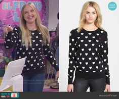 Marisa's heart print sweater on KC Undercover.  Outfit Details: http://wornontv.net/51610/ #KCUndercover