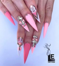 The Fairest Pink Manicure of the Summer Dope Nails, Bling Nails, Stiletto Nails, Swag Nails, Fun Nails, Coffin Nails, Beautiful Nail Designs, Cute Nail Designs, Pink Manicure