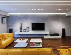 Dark, Deep Colored Contemporary Apartment contemporary designed apartment big yellow couch