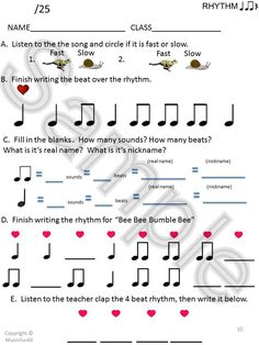 Music Pre-tests and post-tests!  Ta and ti-ti and sol mi.   {Click for details}