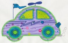 Accuquilt Go! Cute Car Single 2 - 5x7 | Cars | Machine Embroidery Designs | SWAKembroidery.com VStitchDesigns