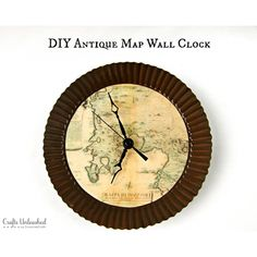 Home Decor Map DIY Projects - The Cottage Market Like the wall clock.