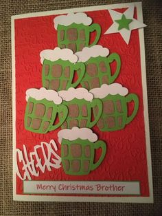 Christmas Card - Beer Mug Drinks Tree Shape Cheers Handmade Handcrafted Greetings Card Grandson Son by ASCraftyCreaters on Etsy Tree Shapes, Cheers, Christmas Cards, Greeting Cards, Mugs, Drinks, Handmade Gifts, Etsy, Art