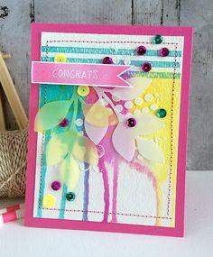 ~ congrats ~ - Scrapbook.com - Pretty watercoloring with Gelatos on the congrats card!