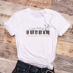 Piano Lover T-Shirt - White, Music Teacher T-Shirt, Piano Teacher Shirt, Gift for Pianist, Piano Key T-Shirt, Cool Musical T-Shirt by FunTeazz on Etsy Teacher Shirts, Cool T Shirts, Piano, Key, Trending Outfits, Music, Gift, Cotton, Tops