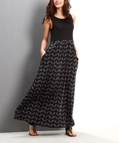 Look at this Charcoal Geo Leaf Tank Maxi Dress on #zulily today!