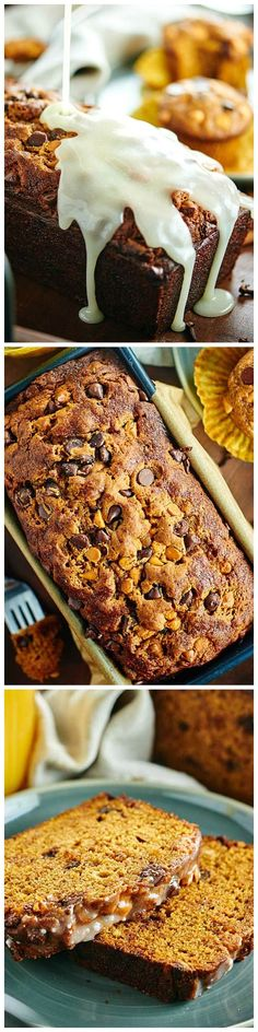 Pumpkin Bread - an easy bread (or muffin) recipe studded w/ choco chips, butterscotch chips, & smothered in a butter powdered sugar glaze! #Pumpkin