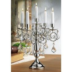 "Terra 14"" Silver Candelabra Candle Holder Home Decor Dining Room Table Furniture"