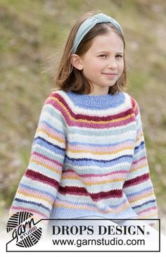 Knitted sweater for children in DROPS Air, DROPS Nepal or DROPS Paris. The piece is worked top down with stripes and raglan. Drops Design, Knitting For Kids, Free Knitting, Baby Knitting, Cable Knitting Patterns, Knitting Stitches, Crochet Cardigan Pattern, Knit Crochet, Drops Paris