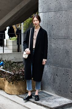 COAT | UNITED ARROWS JACKET | &OTHER STORIES SHIRT | GUCCI PANTS | PLAC JEANS SHOES | ZARA BAG | CELINE Kim Yerim, Street Fashion 2017 in SEOUL