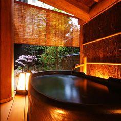 Private open air bath of Japanese inn
