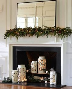 Professional Tips for Decorating Your Holiday Mantel - Pottery Barn Fireplace Candle Holder, Candles In Fireplace, Fake Fireplace, Fireplace Design, Candle Holders, Fireplace Ideas, Unused Fireplace, Black Fireplace, Pottery Barn