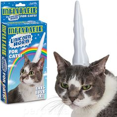 "INFLATABLE UNICORN HORN FOR CATS ~""Cats love it!"" hahaha. Looks like that cat loves it..."