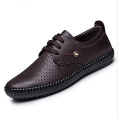 Men Shoes Genuine Leather Summer Casual Shoes Breathable Soft Loafers Sizes (6.5-10)