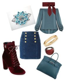 """""""Teal-ing Red"""" by thera-tungol on Polyvore featuring Balmain, BCBGMAXAZRIA, Catherine Catherine Malandrino, Calvin Klein and Hermès"""