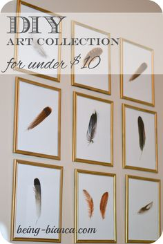 DIY Art Collection - wall art display.  This was done for under $10!  Great way to make a big decorative impact on a tiny budget.  Yes, please!