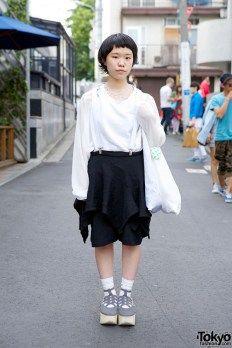 Suspender Skirt w/ Tricot Comme des Garcons & Geometric Necklace