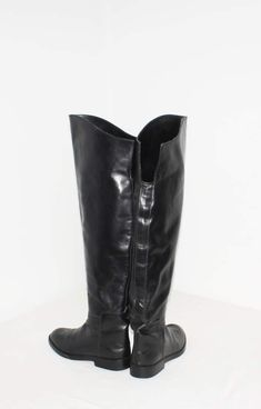 a5b99185756 Vintage DONNA KARAN New York Black Leather Tall Riding Boots Tall Riding  Boots