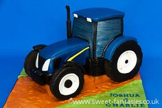 New Holland Tractor, by sweet fantasies Tractor Birthday Cakes, Tractor Cakes, Farm Cake, New Holland Tractor, Love Cake, Cheat Sheets, Cake Ideas, 21st, 3d