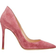 Gianvito Rossi Women's Ellipsis Pumps (€615) ❤ liked on Polyvore featuring shoes, pumps, heels, gianvito rossi, sapatos, colorless, flower pumps, slip on pumps, suede shoes and heel pump