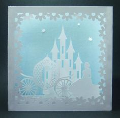 A beautiful 3 dimensional scene of a castle, princess and carriage. Disney Fantasy, 3d Cards, Pop Up Cards, Kirigami, Disney Crafts, Disney Art, Paper Cutting, Silhouettes, Paper Art