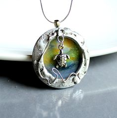 Where Turtles Play -Artisan OOAK Stained Glass Necklace. Starting at $1 on Tophatter.com!