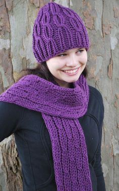 Loom knitted Cabled Hat and Scarf                                                                                                                                                                                 More