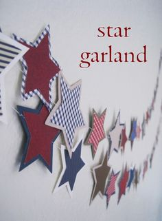 Super Cute Star Garland for 4th of July. #Crafts, #July