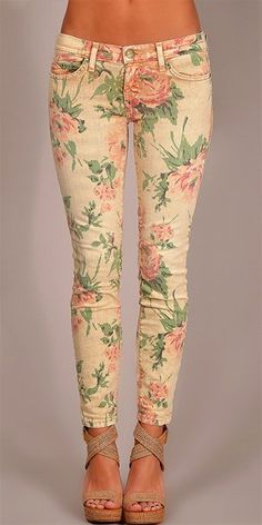 Current Elliott - Stiletto Floral Print Jeans - Floral - Big Drop NYC ~ Colette Le Mason @}-,-;---