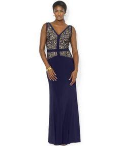 Lauren Ralph Lauren V-Neck Lace Gown