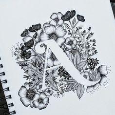 Trendy Flowers Black And White Illustration Etsy Ideas Art Floral, Tattoo Fonts Alphabet, Letter A Tattoo, Monogram Tattoo, Monogram Alphabet, Alphabet Art, Flower Alphabet, Tattoo Typography, Alphabet Design