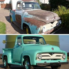 Makeover Monday: Guido Potschien's 1955 Ford F-100. He spent 600 hours over two years on a frame off restoration doing all the work himself sans new paint.  #fordtrucks #ford #fordf100 #frameoffrestoration #truckrestoration #makeovermonday #trucklife #lmctruck #oldtrucks