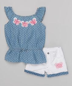Another great find on #zulily! Blue Polkadot Angel-Sleeve Top & White Shorts - Infant by Young Hearts #zulilyfinds