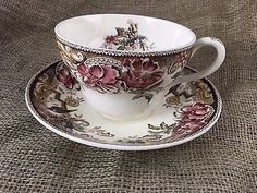Johnson Brothers DEVONSHIRE-BROWN-MULTICOLOR Jumbo Cup & Saucer EUC