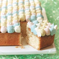 Don't let the semi-labor-intensive decoration keep you from making this cake. If you want to simplify things, simply spread one color of frosting across the cake in an even layer as you would with any regular cake.