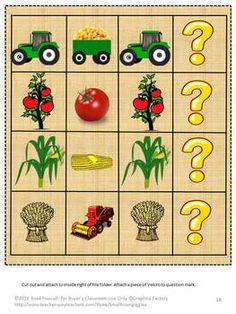 Fall is a busy time of the year for all of us. But on the farm, fall gets very busy. It is harvest time. Harvest Time on the Farm Fire Folder Games packet will give the students a look at life on a farm. It contains 29 pages and makes 6 file folder games. This Harvest Time on The Farm File Folder Games packet consists of the following: 1. Color Matching 2. Letter Matching  3. Counting 4. Making a Pattern 5. Sorting by Size