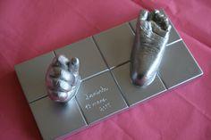 Bebé- huella 3d base rectangular plata 3d, Foot Prints, Silver, Manualidades